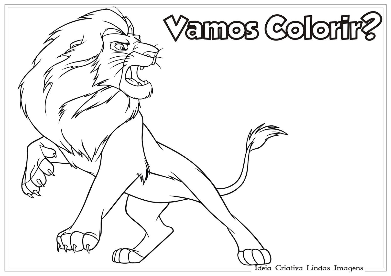 imagens para colorir de um rei leao