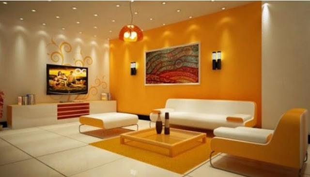 Warna Cat Ruang Tamu White-Orange
