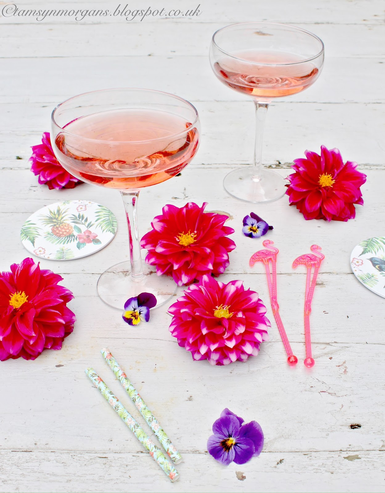Rose & Grey Champagne Glasses
