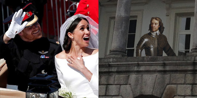 image consisting of two parts. In the left panel; UK 'Royal wedding' of Meghan Markle and 'Prince Harry', showing them waving at someone out of frame. In the right panel, Oliver Cromwell appears behind a wall of Dublin Castle.