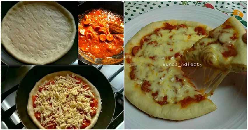 resep pizza teflon eggless dengan bumbu topping spesial super endasssss bikin nagih