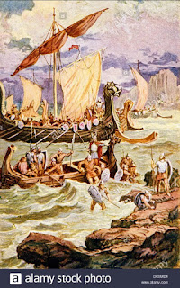Vikings and the captain being borne ashore by the big fish,