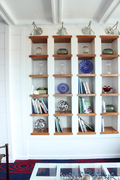 These built-in shelves are great for books and other decor pieces.