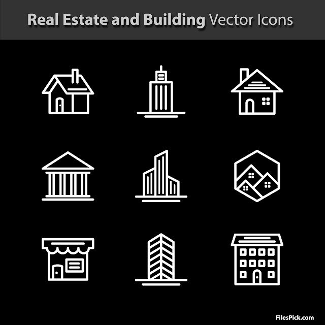 real estate and building vector icons