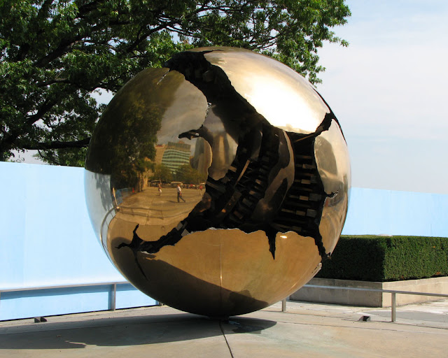 Sphere Within Sphere (Sfera con sfera) by Arnaldo Pomodoro, Headquarters of the United Nations, New York
