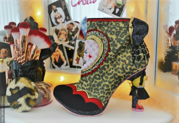 irregular choice leopard print glitter ankle boot with heart detail