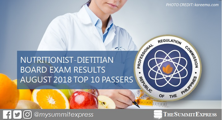 Top 10 Passers: August 2018 Nutritionist Dietitian board exam result