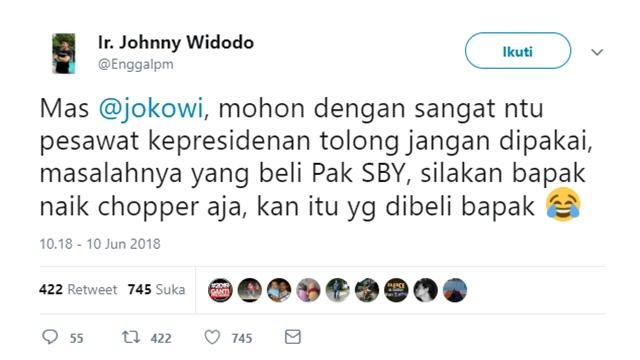 Viral Spanduk Jalan Tol, Warganet SINDIR Jokowi: Jangan Pake Pesawat Kepresidenan, Pake Chopper Aja