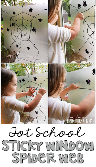 Sticky windows are so much fun! This spider web sticky window is great fine motor practice with a bat and spider theme. Great for tot school, preschool, or even kindergarten!