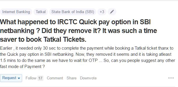 IRCTC quick pay option