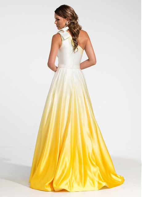 ombre yellow prom dress