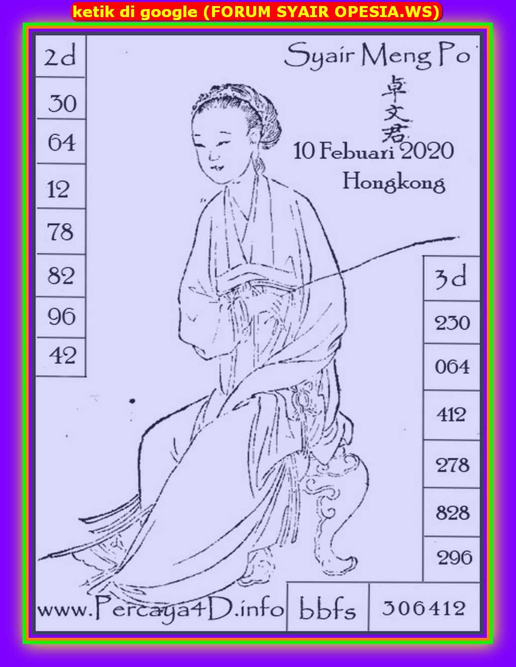 Kode syair Hongkong Senin 10 Februari 2020 119