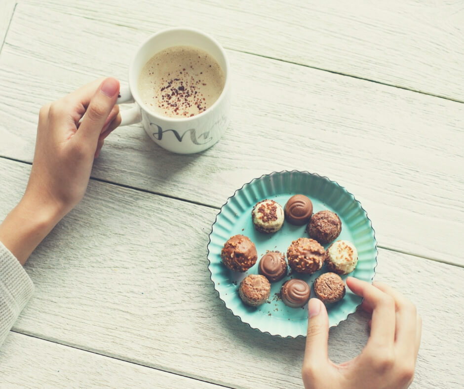 It's Okay To Use Your Time On You | Enjoy a coffee, indulge in some chocolate, and enjoy a peaceful moment.