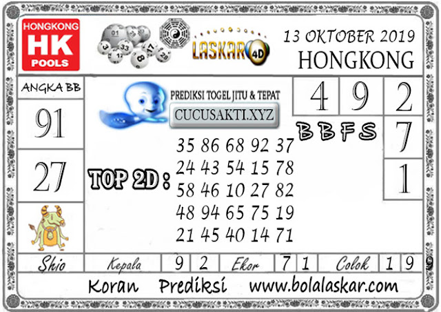 Prediksi Togel HONGKONG LASKAR4D 13 OKTOBER 2019