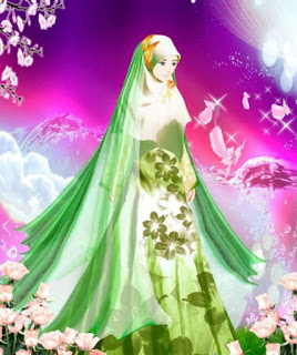 kartun muslimah cantik berhijab biru