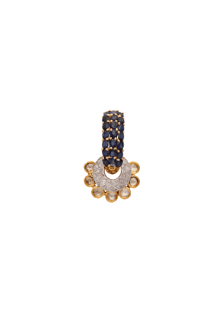 Earrings curated in 18 K gold and studded with fine cut diamonds and blue sapphire by Tanya Rastogi for Lala Jugal Kishore Jewellers