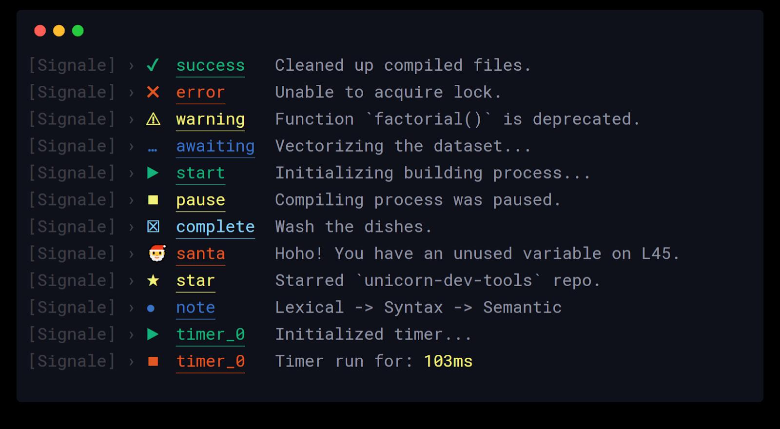 Signale - Hackable console logger for Nodejs
