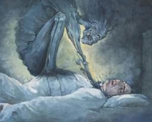 demonio súcubo atacando a un humano en sus sueños