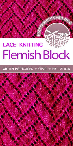 Knitting Stitches -- Free Knitting, knit Flemish Block Lace Stitch.