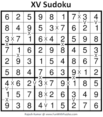 XV Sudoku (Daily Sudoku League #207) Puzzle Solution