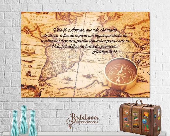 arte, digital, painel, banner, mapa mundi, volta ao mundo, festa, versículo, biblia, viajem, personalizado