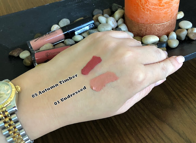 a swatch photo of Flormar Silk Matte Lipstick in Undressed and Autumn Timber review by Nikki Tiu of www.askmewhats.com