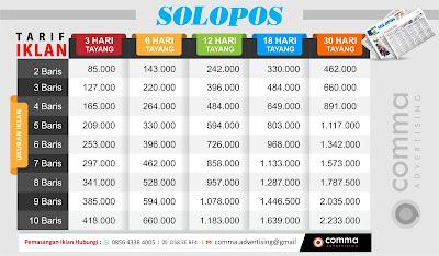 Tarif pasang iklan baris koran Solopos 2018
