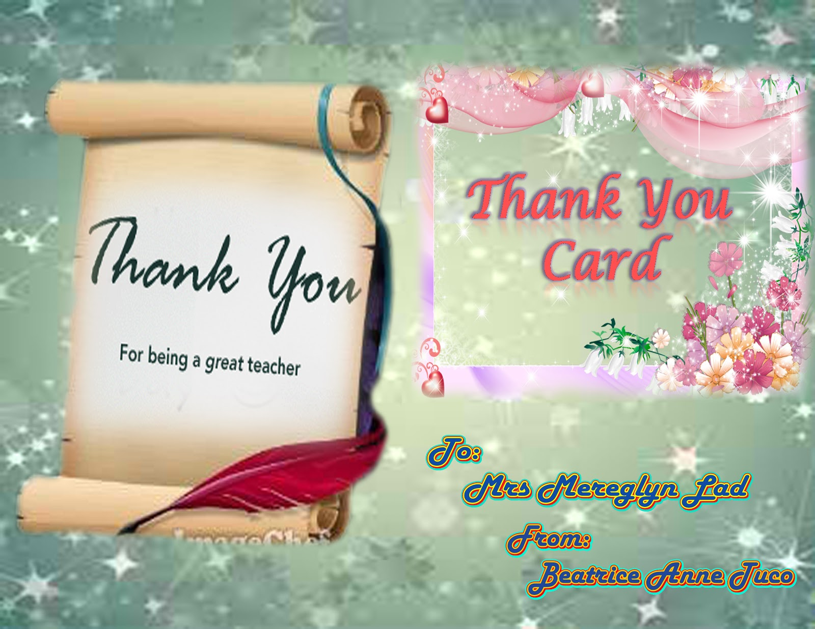 teaching and learning ict thank you card for world
