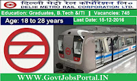 Delhi Metro Recruitment 2016