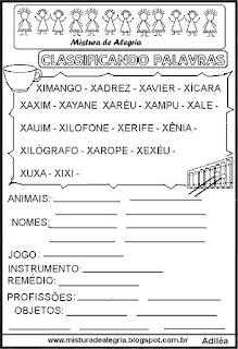 Classificar palavras com letra X