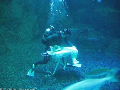Taucher witzig Bügeln unter Wasser - lustige Taucherbilder