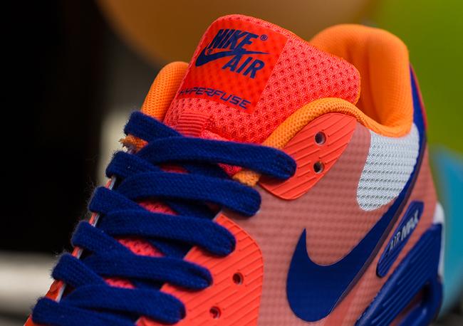 Nike WMNS Air Max 90 Hyperfuse – Hyperblue   Bright Citrus   Crimson ... 2bdf92cfef