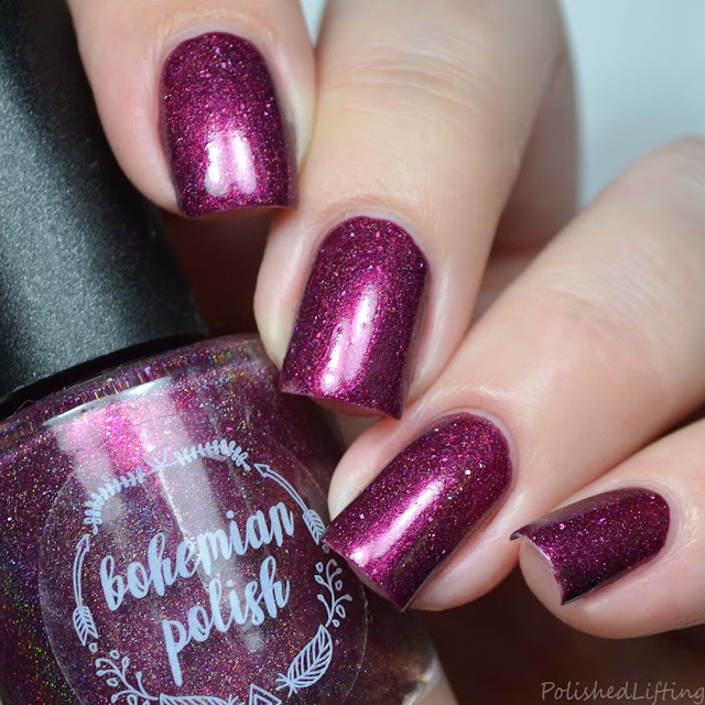 blackened red holo nail polish
