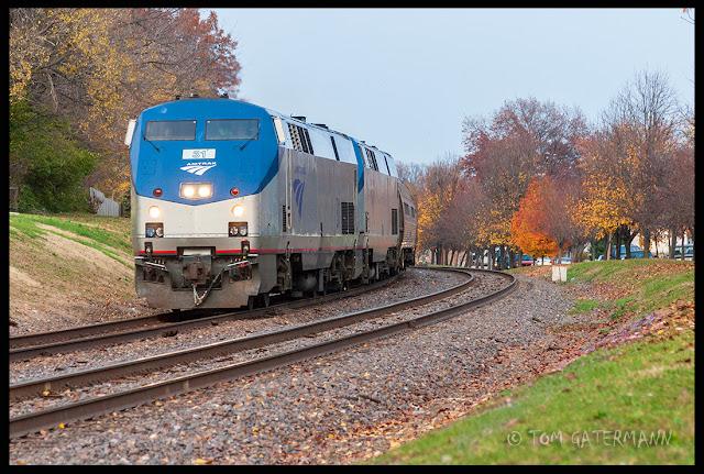 AMTK 31 leads Amtrak's Ann Rutledge at Maplewood, MO.