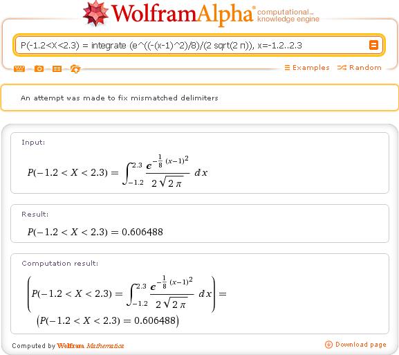 Плотность вероятности нормального распределения с заданными параметрами mean=1 и sd=2