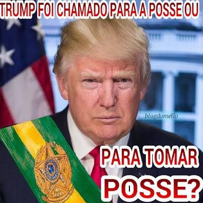 Trump com faixa presidencial do Brasil e ilustração do título da postagem
