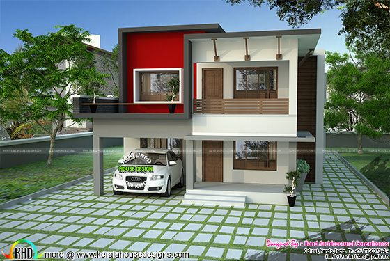 1700 sq-ft modern flat roof house