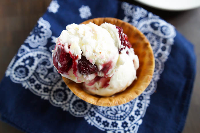 Roasted Cherry and Almond Cheesecake Ice Cream