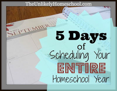 5 Days of Scheduling Your Entire Homeschool Year {Day3} Scheduling traditional curriculum-The Unlikely Homeschool