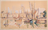 Sailboats at a Pier in Honfleur by Paul Signac - Landscape Drawings from Hermitage Museum