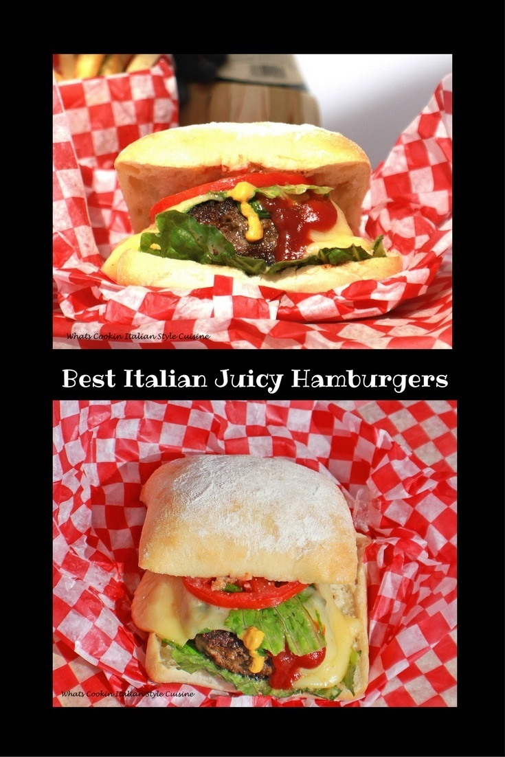 this is an Italian seasoned beef burger in a ciabatta bread roll pillow soft hamburger better than any fast food burger. This burger has lettuce tomato condiments, cheeses, and bursting with the best Italian flavors cooked in a cast iron skillet then loaded on top with tomato and lettuce with mustard and provolone cheese melted