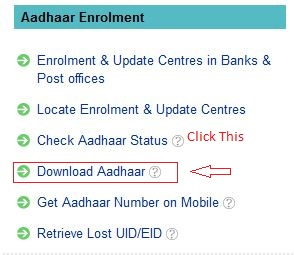 Click On Download Aadhar Option