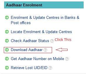 Click On Download Aadhar Option