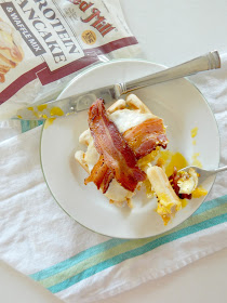 Open Faced Protein-Packed Breakfast Sandwiches...a cinnamon and vanilla infused hearty waffle, havarti cheese, a fried egg and crispy bacon!  Simply the best breakfast to start off your morning. (sweetandsavoryfood.com)