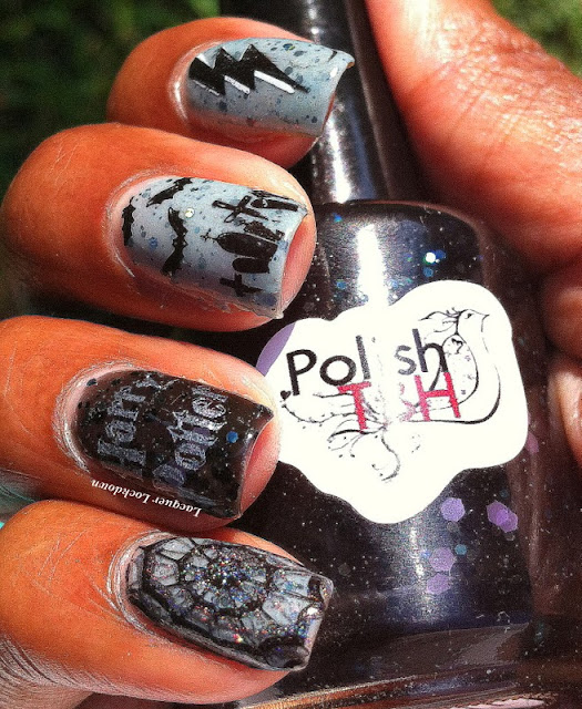 lacquer lockdown - PolishTBH, Diagon Alley Collection, PolishTBH Thestral, PolishTBH Dark & Difficult Times, nail art, Halloween nails, Halloween nail art, stamping, Apipila, Apipila P.10, spiderwebs, holographic polish, lightening bolts, cute nails, easy nail art, indie polish, Nailways stamping plates, Nailways Darker Period Halloween, Nailways Darker Period plates, new stamping plates 2013, Halloween 2013, Konad, Charming Nails Plate,