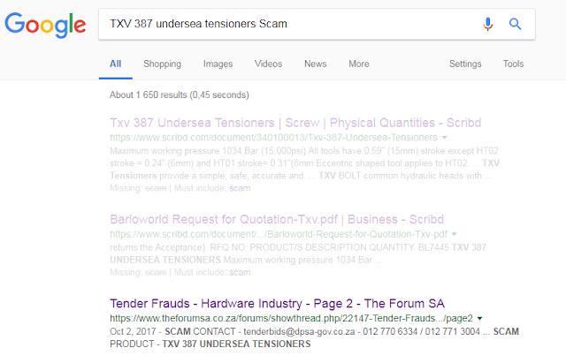Illustrative Google search results