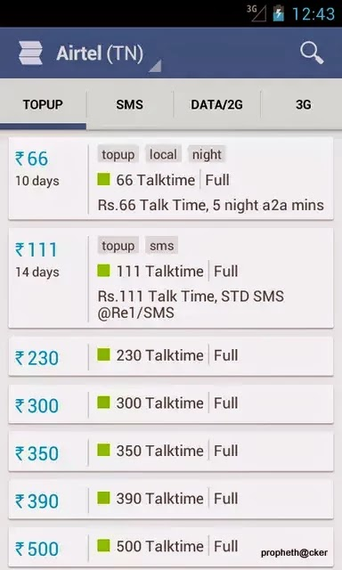 Know Latest 2G-3G Recharge Plans,Talktime Packs and Offers on Android