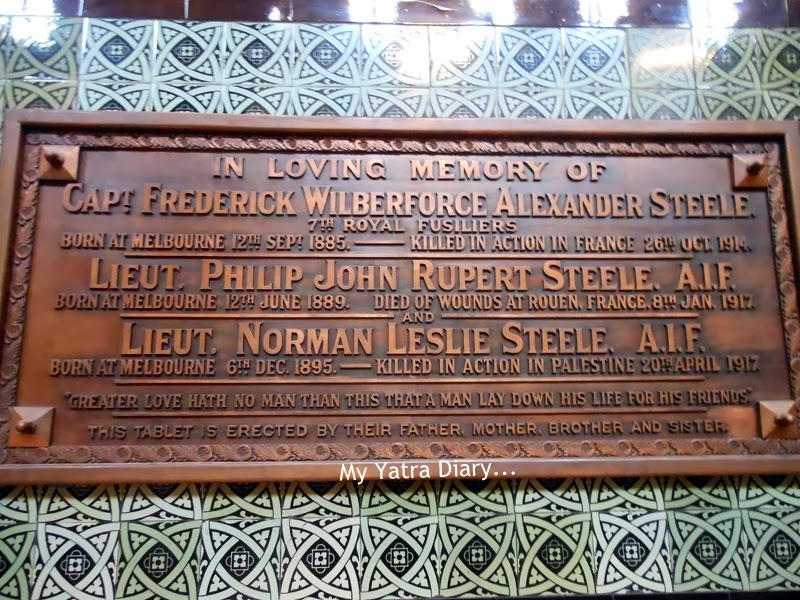 A tablet on the sidewalls of St. Paul's church cathedral in Melbourne, Australia