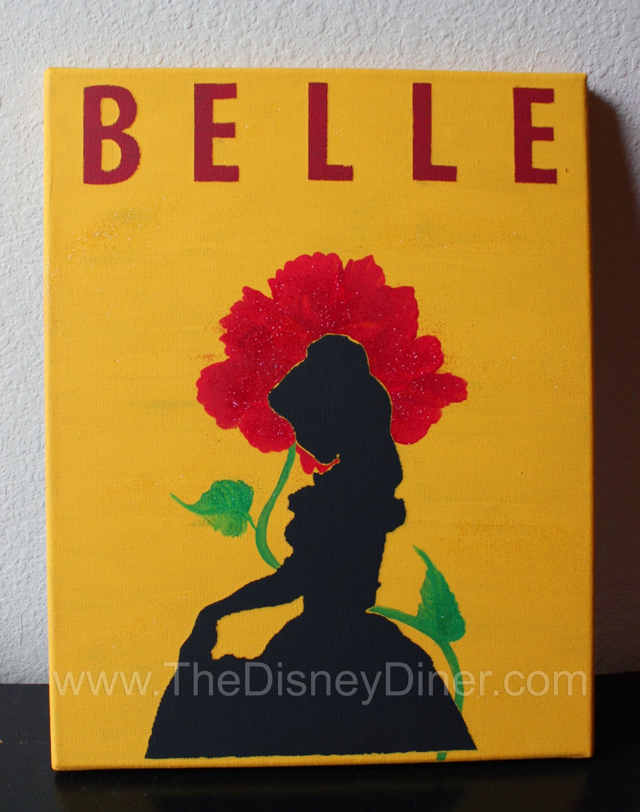 Disney Art Belle Silhouette Enchanted Rose Canvas Painting