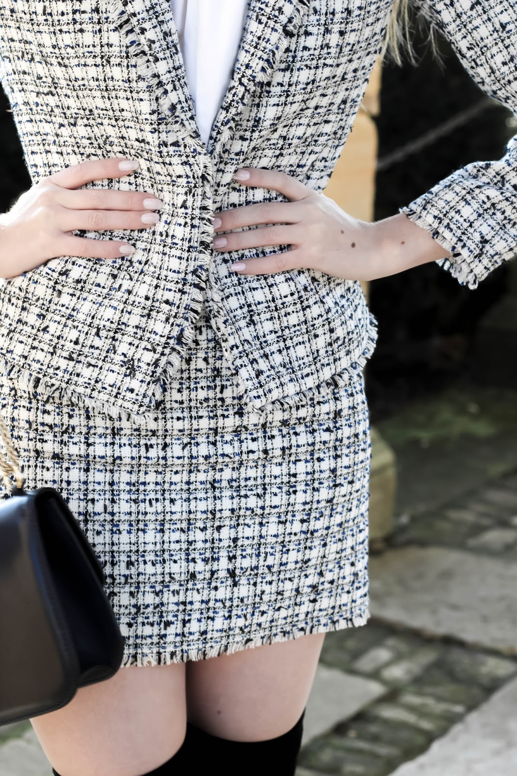 Black and White H&M Tweed Mini Skirt Suit